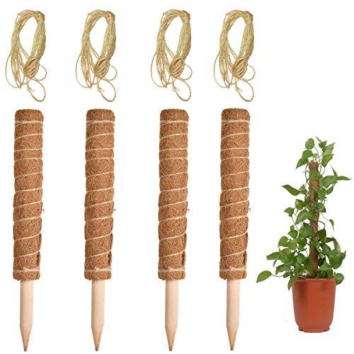 REKALRO 4 Stück 40 cm Pflanzstab Kokos Rankstab Rankhilfe Blumenstab mit 4 Stück 2 Meter langes Hanfseil Pflanzenbinder für Zimmerpflanzen, Pflanzstab Kokos Rankstab Rankhilfe Blumenstab