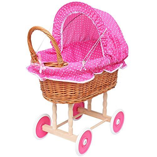 Puppenwagen aus Weide Holz Weidenwagen Kinderwagen Weidenpuppenwagen Verschieden Motive (ROSA | mit Punkten)