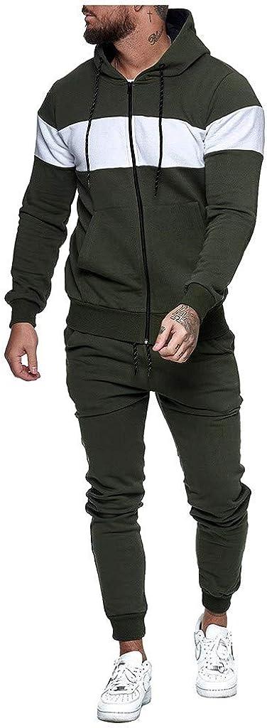 2021 Sport Wear for Men 2 Pieces Outfit Set Patchwork Full Zip Hoodie Sweatshirt and Sweat Pants Suit