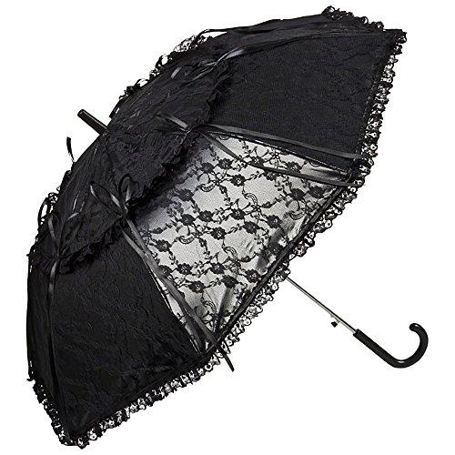 VON LILIENFELD Regenschirm Sonnenschirm Brautschirm Hochzeitsschirm Auf-Automatik Lackleder Optik Spitze Luna schwarz
