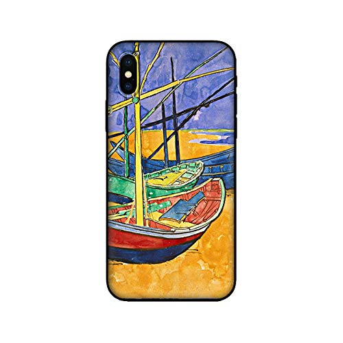 WQDWF Funda de TPU Negra para iPhone 5 5s se 6 6s 7 8 Plus x 10 Funda de Silicona para iPhone XR XS 11 Pro MAX Funda Starry Night Van Boat, 10319, para iPhone X