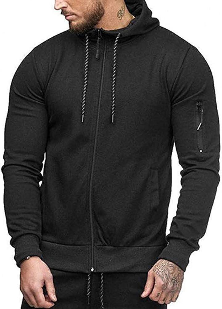 Misaky Hoodies for Men Autumn & Winter Casual Solid Color Zipper Pocket Long Sleeve Hooded Sweatshirt Tops