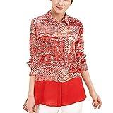 E-girl E6899 - Blusa de seda para mujer, 100% seda, cuello de camisa de manga larga rojo 48