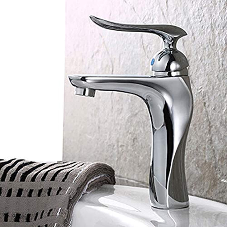 IFELGUD Badezimmer zeitgenssischer Stil Wasserhahn Messing verchromt einzigen Griff Keramikpatrone kaltes und warmes Wasser Becken Wasserhahn