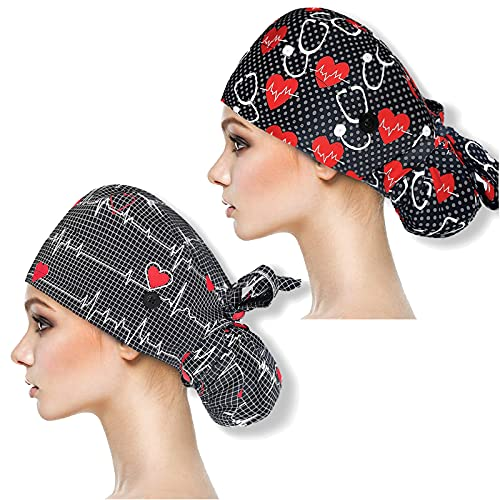 YUESUO 2 Pack Working Cap with Buttons and Sweatband,Cotton Working Hats with Adjustable Ponytail Pack Ribbon Tie Back Hats for Women & Men,Long Hair Head Covers Shower Caps (B)