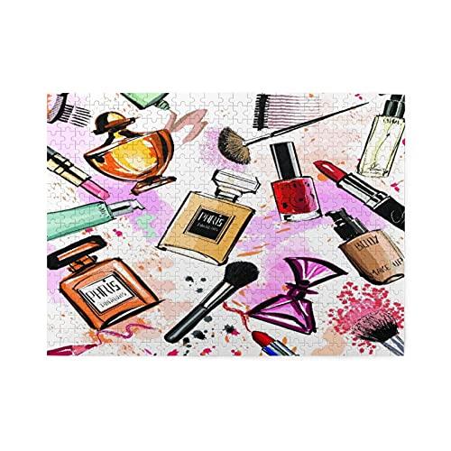 Rompecabezas de 500 piezas,cosméticos femeninos de acuarela,perfumes,lápiz labial,pincel para esmalte de uñas,gran familia,juego de rompecabezas,ilustraciones para adultos y adolescentes