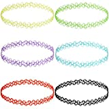 MunkiMix Gomma Collana Catena Catenina Colorate Double Linea Alcanna Tatuaggi Choker Collare Tratto Elastico Set (6 PCS) Donna