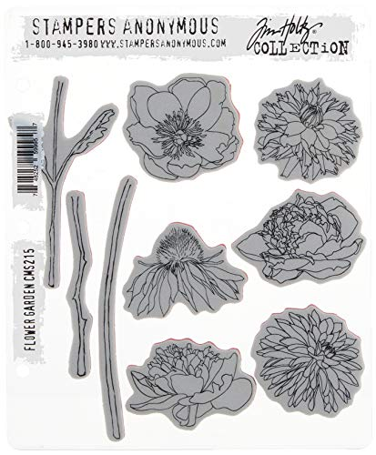 Stampers Anonymous Tim Holtz Cling Rubber Flower Garden Stamp Set, 7 x 8.5'