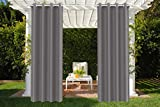 DreamQuil Outdoor Curtains for Patio Gazebo Front Porch Pool Grommet Top Thermal Insulated Blackout for Deck Cabana Pergola Lanai 1 Panel (W52× L84, Grey)