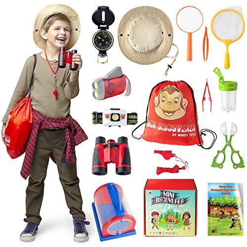 Kids Explorer Kit - Bug Catcher Kit for Kids & Binoculars for Kids - Great Gift for Boys & Girls - Best for 3, 4, 5, 6, 7, 8, 9 & 10 Year Old | Magnifying Glass, Flashlight, Compass, Safari Hat