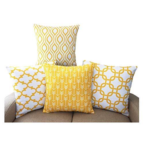 TIDWIACE® Set von 4,Gelb Kissenbezug Kissenhülle Baumwolle Leinen Quadratisch dekorativer Überwurf-Kissenbezug Home Dekorative Kissenbezüge mit Reißverschluss Sofa Schlafzimmer Auto 45x 45cm