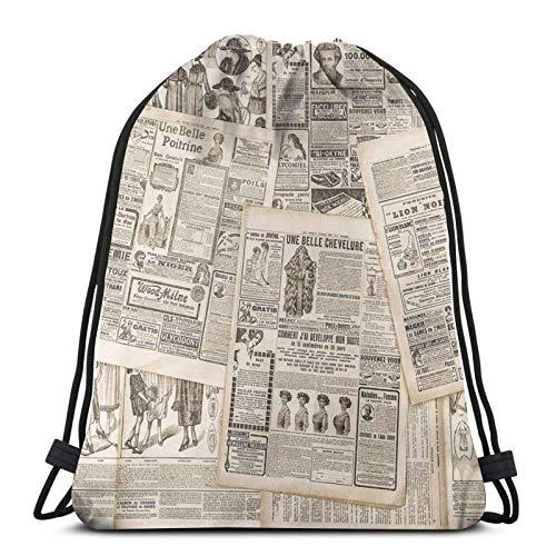 Vintage Mujer Moda Revista París Cordón Mochila Deportes Gym Sackpack Bolsa de Viaje Para Niños Hombres Mujeres