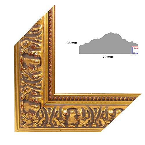 OLIMP-26 Bilderrahmen 33x95 cm Echtholz Barock in Farbe Altgold Schwarz