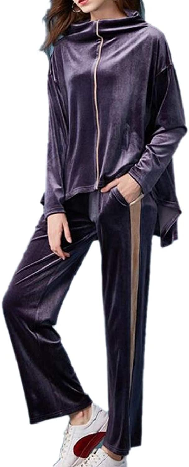 LKCENCA Women's Velour Casual Activewear Jacket and Pants Tracksuit Set