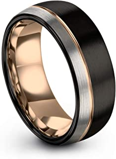 Midnight Rose Collection Tungsten Wedding Band Ring 8mm for Men Women 18k Rose Yellow Gold Plated Dome Off Set Line Black Grey Half Brushed Polished