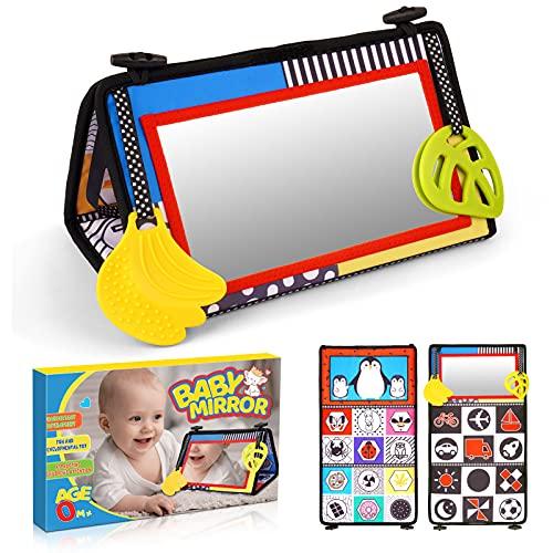 DEVRNEZ Regalo Bebe 1 Año, Libro Bebe Juguetes Bebe 0-12 Meses Espejo Bebe Juguetes Montessori 1-2 Años Espejo Montessori Regalo Bebe Recien Nacido Niño Niña Regalo Navidad Niño