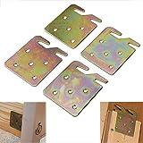 Lonwin 4PCS Wood Bed Rail Hook Plates for Wooden Headboard Footboard Frame Bracket Heavy Duty Universal Hardware Claw Hook Plate