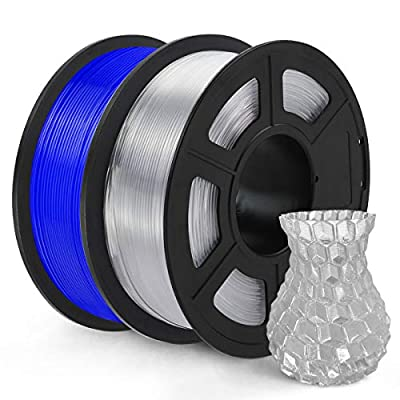 SUNLU PETG 3D Printer Filament, PETG Filament 1.75mm Dimensional Accuracy +/- 0.02 mm, 2 kg Spool, PETG Blue+Transparent…