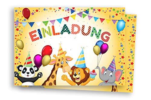 Friendly Fox Zootiere Einladung - 12 niedliche Tier Einladungskarten zum Kinder-Geburtstag Junge Mädchen - Einladung Kindergeburtstag Zoo Tierpark Safaripark mit Umschlag