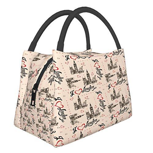 I Love London UK Big Ben Portable Waterproof Large-Caity Lunch Handbag Heat Insulation Bags