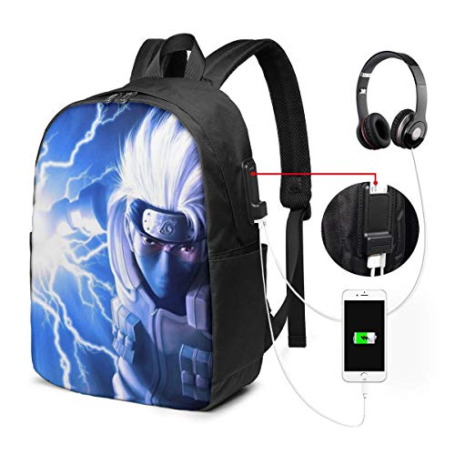 Kakashi Hatake Sharingan Naruto Cool USB Backpack 17 in Laptop Backpack