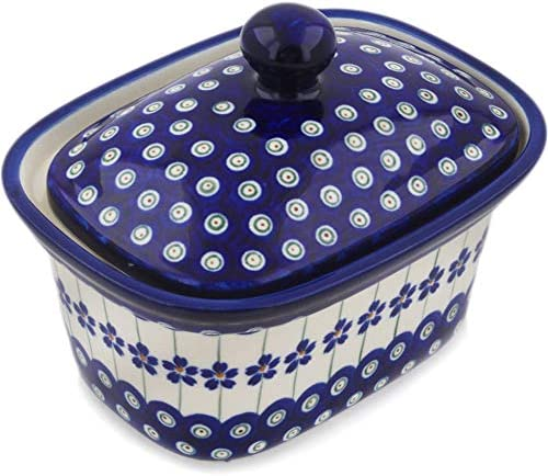Polish Pottery 7½-inch Genuine Jar with + Lid Flowering Theme Peacock Memphis Mall