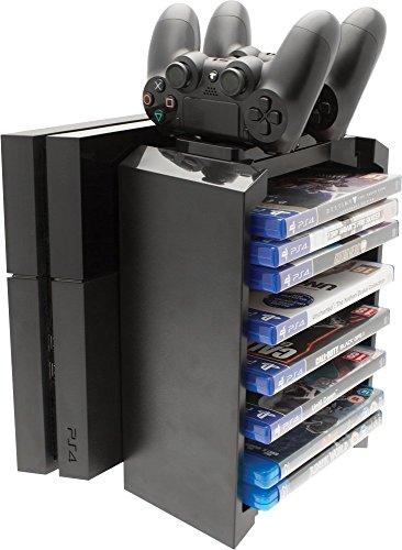 Venom Games Storage Tower & Twin Charger inkl. Ladegerät für 2 Dualshock 4 Controller & Aufbewahrungsmöglichkeit für bis zu 12 PS4 Spiele oder blu rays