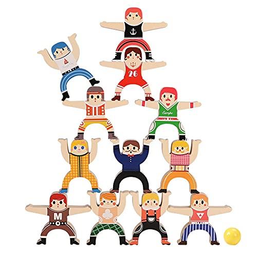 Dfngiq 12 Strong Sorghum Spilyed Music Balance Pequeño Pila de Madera Papelos de Alto Rompecabezas Bloques de construcción interactivos 3 Juguetes de niña de niño de 6 años
