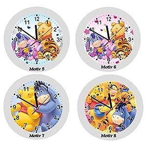 ✿ Kinderwanduhr in 4 Farben ✿ Winnie Pooh Bär Esel Tiger Ferkel Honig ✿ Wanduhr ✿ KEIN TICKEN ✿ mit/ohne Name