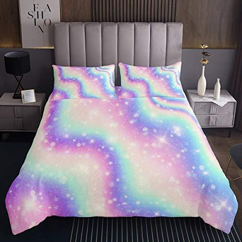 Girly Galaxy Coverlet e donne colorato Universo cielo stellato copriletto arcobaleno strisce set trapunta glitter nebulosa scintillante stelle letto 2 pezzi singolo