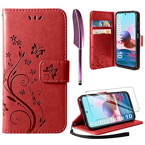 AROYI Cover Compatibile con Xiaomi Redmi Note 10 4G/Note 10S, Retro Design Flip Caso in PU Pelle Premium Portafoglio Slot per Schede Chiusura Magnetica Custodia Red