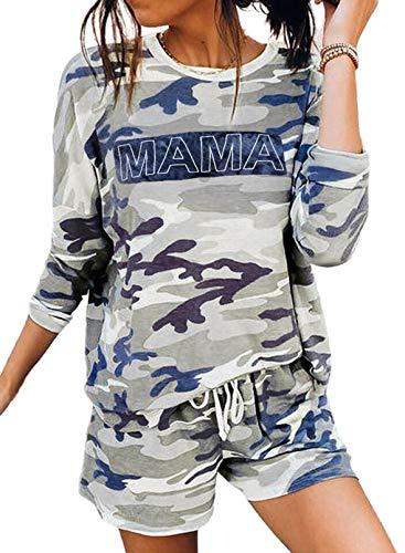 Lässiger Tarn-Pyjama für Frauen mit Tarnmuster zum Muttertag Langarm-T-Shirt mit Rundhalsausschnitt und elastischer Taille Kordelzug-Shorts Loungewear 2-teiliges Anzug-Set