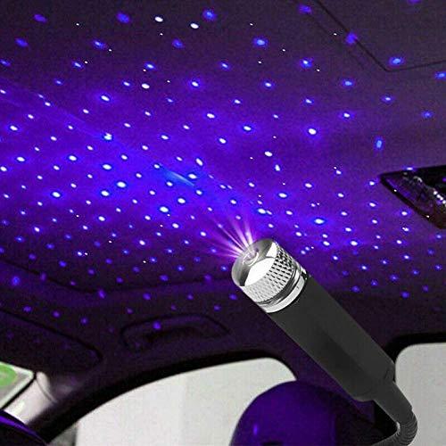 FRFJY Lámpara USB para techo del coche, atmósfera estrellada, luz ambiental, proyector LED, color lila, luz nocturna ajustable, varios efectos de luz