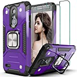 AYMECL Compatible for LG Aristo 2/3/Aristo 2 Plus/Phoenix 4/Zone 4 Case,with Tempered Glass Screen Protector[2 Pack] Military Grade Shockproof Protective Case,with Kickstand,for Aristo 2-Purple