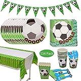 Amycute 134 pcs 20 Invitados Vajilla de Fútbol Temáticas vajilla de Cumpleaños de Niños Vajilla Jardín de fútbol Party Verde Futbol Fanática del Fútbol para Niños Niño Cumpleaños