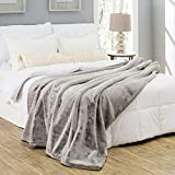 Silver Fern Premium Double-Sided Faux Fur Throw Blanket - Extra Large: 60x80 Inches, Frosted Gray - Plush Velvety Soft Minky Material - Luxury Softness & Warmth - Machine Washable