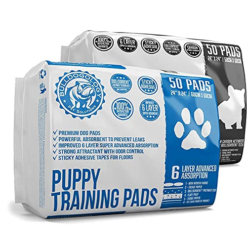 Bulldogology Premium Puppy Training Pee Pads Bundle Kit (Large, 2X 50-Count)