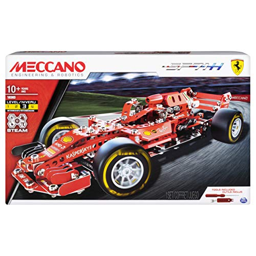 MECCANO Ferrari Grand Prix Racer STEM Building Kit with Poseable Steering, for Ages 10 And Up, Colore Rosso, 6044641