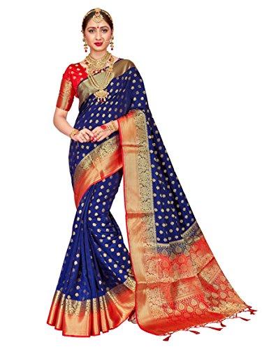 Heart N Soul Sarees indiennes Bollywood pour femme Banarasi Art soie tissée Saree l Tradional Mariage Sari avec Chemisier non cousu - Bleu - Taille Unique