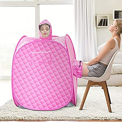 SEAAN Portable Home Sauna Personal Steam Sauna Tent for Weight Loss and Detox SPA Sauna Wrap with 2.6L Steamer Foldable Chair Remote Control Timer Sauna for 2 Person Full Body Leg Relaxation …