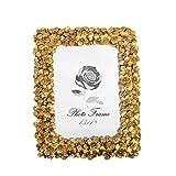 Fabnish Cornice portafoto 13 x 18 cm – oro – Cornice da tavolo con fiori – vintage, anticata, barocco e moderna – Cornice portafoto con vetro – decorazione per la vostra casa