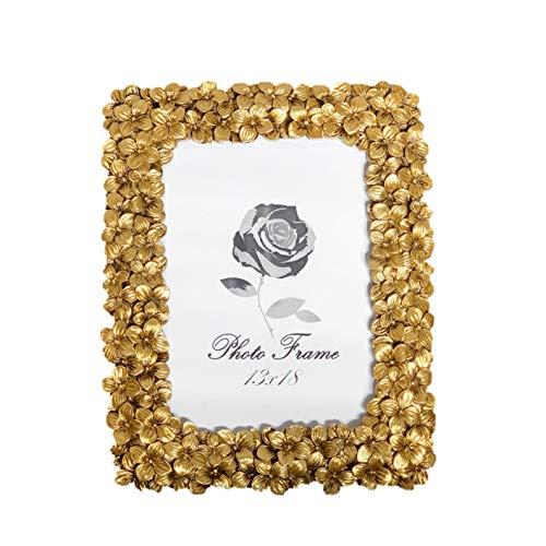Fabnish Bilderrahmen, Fotorahmen 13x18 cm - Gold - Stehender Tischrahmen mit Blumen - Vintage, Antik, Barock und Modern - Fotorahmen mit Glasscheib - Deko für Deine Wohnung