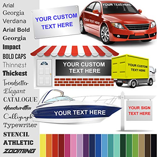 Design Your Own (13 Sizes + 18 Fonts + 24 Colors) Custom Vinyl Sticker | Car Window, Boat, Yeti Lettering JDM Automotive Windshield Graphic Name Letter Auto Vehicle Door Banner Sign Personalized Decal