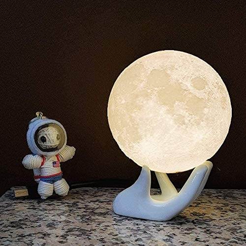 Mopoq Moon Lamp - Rechargeable 3D Printing Moon Light Lamp for Kids Gift, Touch Control, gift box, Warm and Cool White Lunar Lamp(5.9 in Moon lamp with Stand)