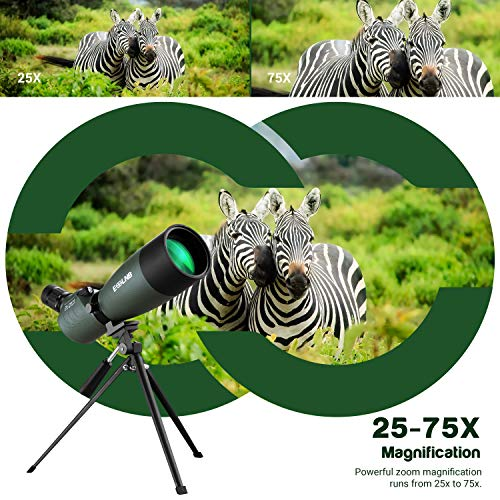 ESSLNB Spotting Scope 25-75X70 Spotter Scope with Tripod Phone Adapter and Bag 100% Waterproof BAK4 Fully Multi-coated Porro Prism for Target Shooting Birdwatching