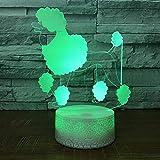 Yoppg 3D Led Luz De Noche Ilusión Óptica Lámpara De Mesa Luz Iluminación 7 Colores Touch Switch Usb Or Batería Dormitorio Para Niños Cama Regalo De Navidad Los Perros De Nieve