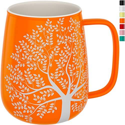 amapodo Kaffeetasse groß aus Porzellan mit Henkel 600ml große Kaffee Keramik Tasse Orange Geschenke für Frauen Männer