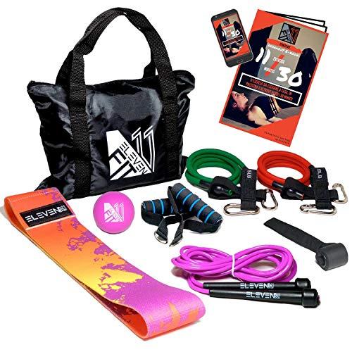 ElevenFit Set Ginnastica con Elastici Fitness, Corda per Saltare, Fascia Glutei e Pallina Massaggio