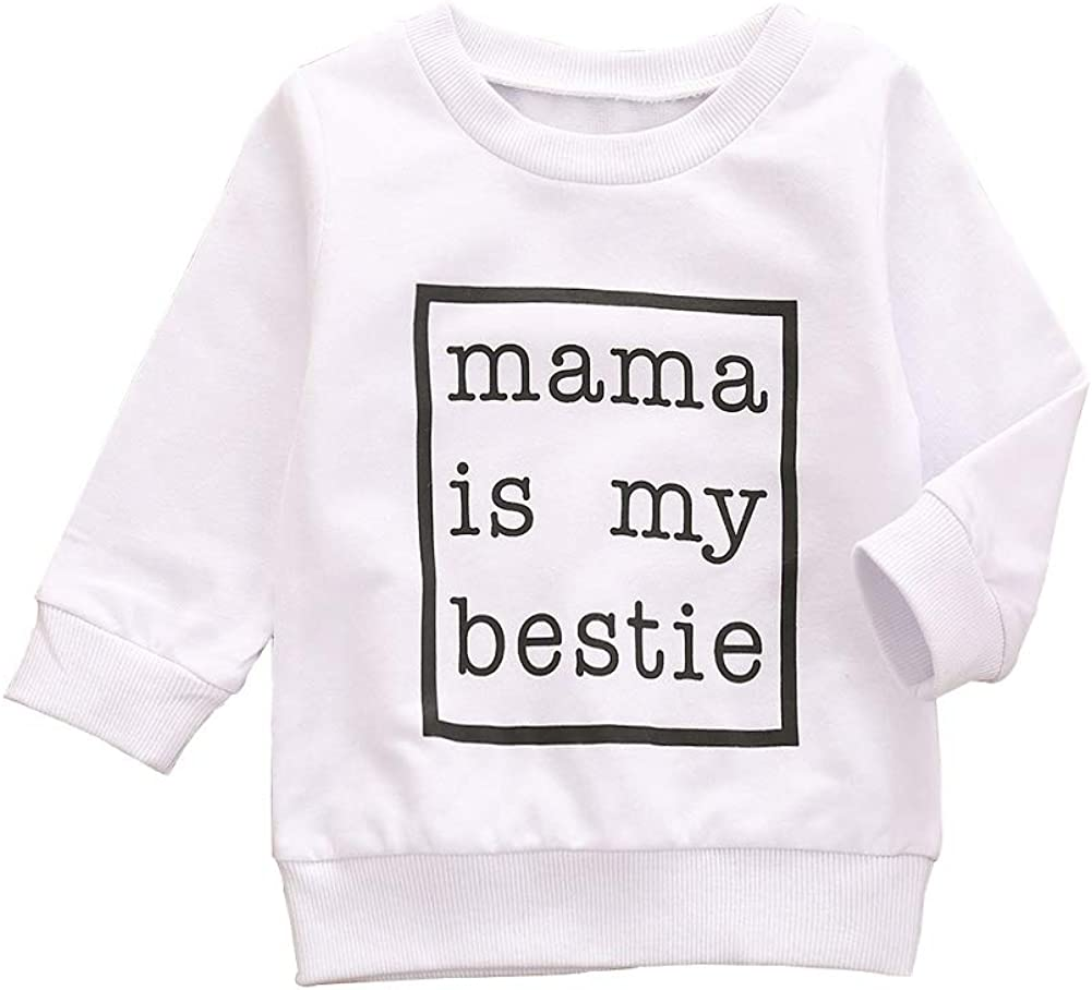 Toddler Baby Girl Boy Clothes Long Sleeve Sweatshirt Mama is My Bestie Print Pullover Top Fall Winter Outfit