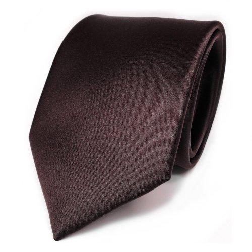 TigerTie Designer Satin Krawatte in braun dunkelbraun einfarbig uni